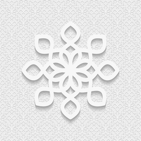 paper punch: Seamless white 3D pattern, east ornament, indian ornament, vector EPS 10. Endless texture can be used for wallpaper, pattern fills, web page  background,surface textures.