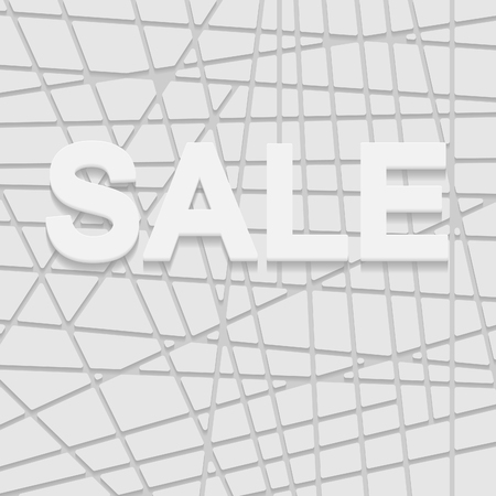ribbed: White sale sign over 3D  background, ribbed white surface, vector EPS10 Illustration
