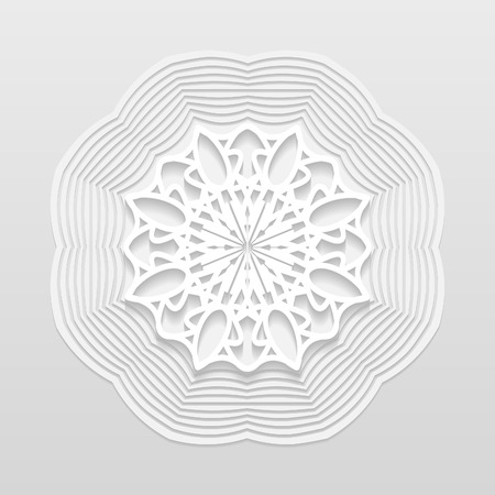 bas relief: Decorative flower, decorative snowflake, mandala, embossed pattern, arabic ornament,indian ornament, 3D, vector eps10