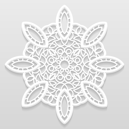 paper punch: Lacy paper doily, decorative flower, decorative snowflake, mandala, embossed pattern, arabic ornament, indian ornament, 3D, vector Illustration