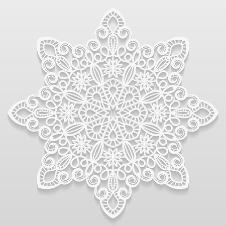 paper punch: Lacy paper doily, decorative flower, decorative snowflake, mandala, embossed pattern, arabic ornament,indian ornament, 3D Illustration