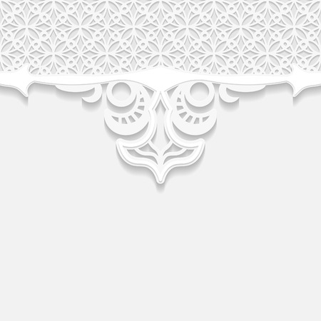 paper punch: Vintage vector background, festive pattern embossing,  area division for writing the text, 3D