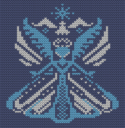 jacquard: Seamless knitted background - magic bird butterfly . Jacquard pattern. Vector illustration.