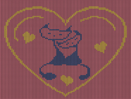 jacquard: Seamless knitted background - heart with kittens.  Jacquard pattern. Vector illustration.