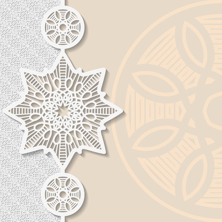 Vintage vector background, festive pattern embossing,  alace paper card, arabic decoration, indian ornament, template greetings, 3D, EPS10 Illustration