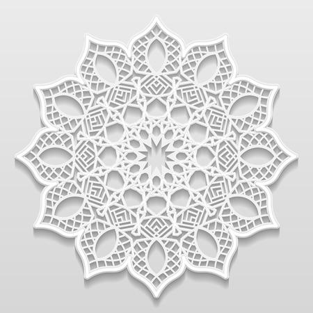 ビンテージ ベクトルの背景、エンボス、alace 紙カード、花飾り、インドの髪飾り、テンプレート挨拶、3 D、EPS10 お祝いパターン