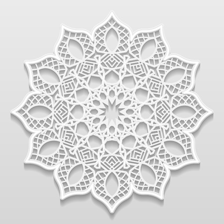 appearance: Vintage vector background, festive pattern embossing,  alace paper card, floral ornament, indian ornament, template greetings, 3D, EPS10