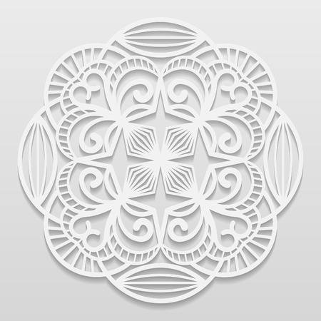 bas relief: Lacy paper doily, decorative flower, decorative snowflake, mandala, embossed pattern, arabic ornament,indian ornament, 3D, vector