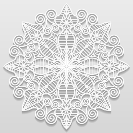bas relief: Lacy paper doily, decorative flower, decorative snowflake, mandala, embossed pattern, arabic ornament,indian ornament, 3D, vector eps10