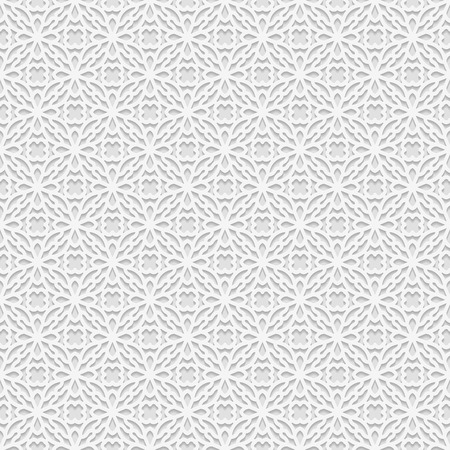 paper punch: Seamless white 3D pattern, arabic motif,  east ornament, indian ornament, vector EPS 10. Endless texture can be used for wallpaper, pattern fills, web page  background,surface textures.