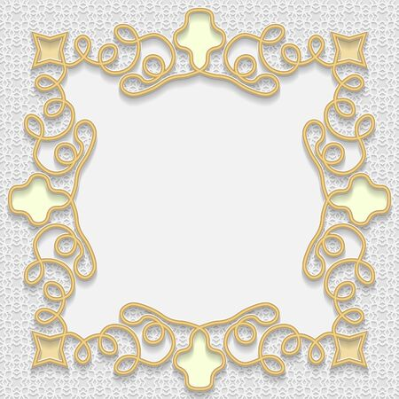 bas relief: 3D gold frame, festive pattern embossing, arabic decoration, indian ornament, template greetings Illustration