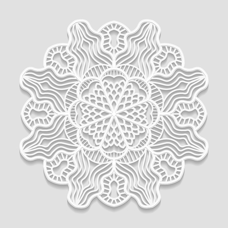 bas relief: Lacy paper doily, decorative flower, decorative snowflake, mandala, embossed pattern, arabic ornament,indian ornament, 3D Illustration