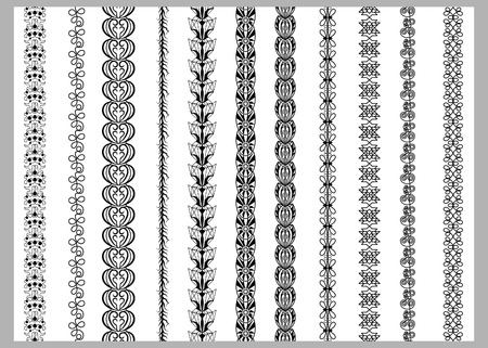 rama: Indian Henna Border decoration elements patterns in black and white colors. Popular ethnic border in one mega pack set collections. illustrations.Could be used as divider, frame, etc