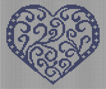 spend the summer: Seamless knitted background - heart. Illustration