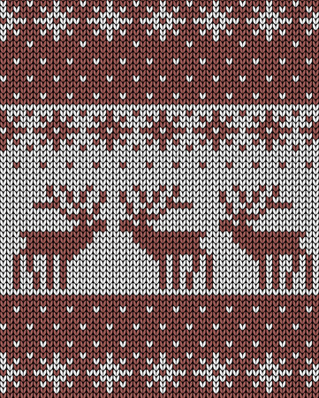 jacquard: Seamless knit background, deers, jacquard pattern