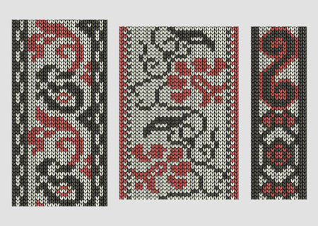 spend the summer: Set of seamless knitted borders, vintage borders set for design, illustrations