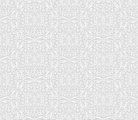used ornament: Seamless white 3D pattern, arabic motif,  east ornament, indian ornament. Endless texture can be used for wallpaper, pattern fills, web page  background,surface textures. Illustration