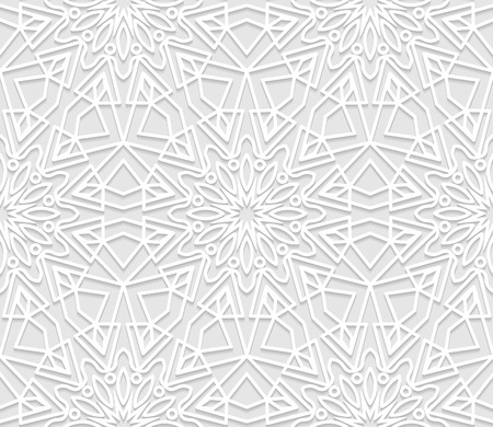 east indian: Seamless white 3D pattern, arabic motif,  east ornament, indian ornament. Endless texture can be used for wallpaper, pattern fills, web page  background,surface textures. Illustration