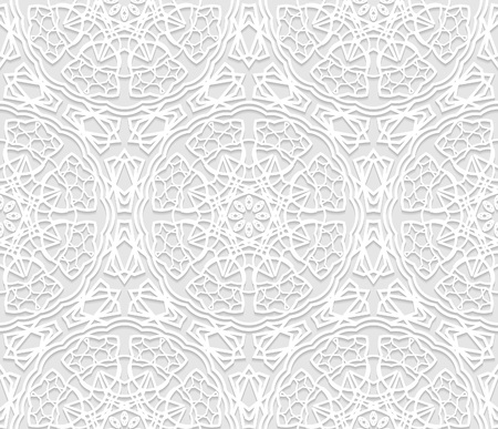 白い 3 D のシームレスなパターン、アラビア語のモチーフ、東飾り、インドの髪飾り。無限のテクスチャは、壁紙、パターンの塗りつぶし、web ペー