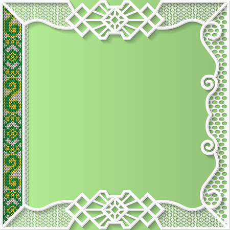 in insert: lace frame, festive pattern, white pattern,  template greetings, knitted insert, book cover,  3D Illustration