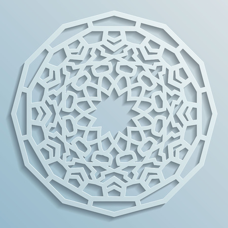 paper punch: Geometric ornament arabic round pattern background - persian decorative, 3D