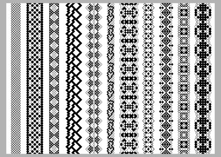 rama: Asian or american  border decoration elements patterns in black and white colors. Popular ethnic border in one mega pack set collections. illustrations. Could be used as divider, frame, etc