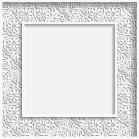punched: 3D bas-relief frame, floral pattern,  festive pattern, white pattern, template greetings Illustration