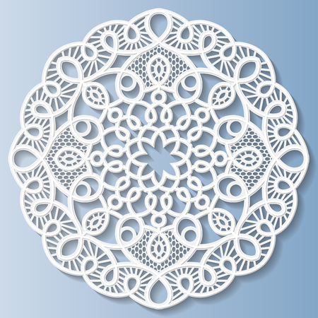 bas relief: Decorative flower, snowflake, mandala, embossed pattern, lace pattern, arabic ornament,indian ornament, 3D