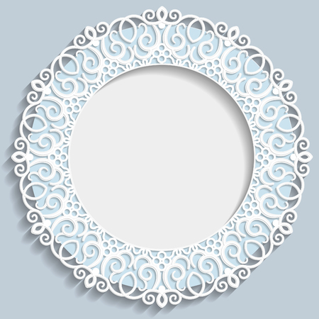 bas relief: 3D bas-relief frame, vignette with ornaments, decorative plate,   festive pattern, white pattern, template greetings Illustration