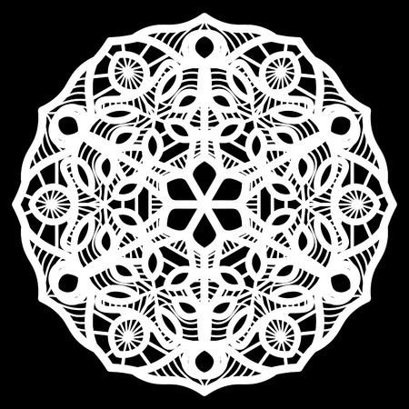 decorate element: Lace round paper doily, doily to decorate the cake, doily under the plates, festive doily,  white doily, lacy snowflake, greeting element package, illustrations