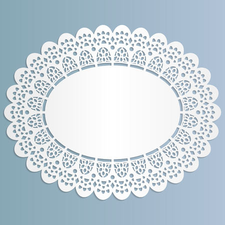 Lace oval paper doily, stand for lace cake,  greeting element package, illustrations