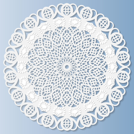 bas relief: Decorative doily,  lace  snowflake, mandala, embossed pattern, lace pattern, arabic ornament,indian ornament, 3D