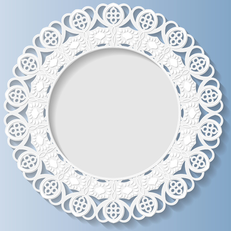 bas relief: 3D Vector bas-relief frame, vignette with ornaments, decorative plate,   festive pattern, white pattern, template greetings