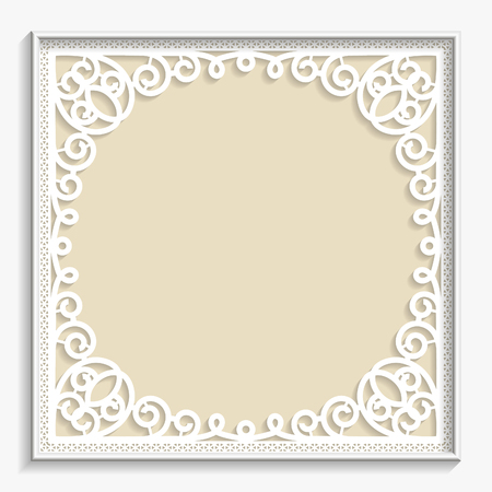 festive pattern: 3D bas-relief frame, vintage pattern,  festive pattern, white pattern, template greetings Illustration