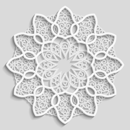 wall decoration: Lacy paper doily, decorative flower, decorative snowflake, mandala, embossed pattern, arabic ornament,indian ornament, 3D, vector