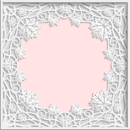 3D Vector bas-relief frame, maple leaves frame, branches frame,   vintage frame,  festive frame, white frame, template greetings