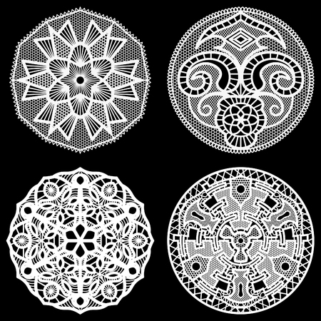 decorate element: Set of design elements, lace round paper doily, doily to decorate the cake, doily under the plates, festive doily,  white doily, lacy snowflake, greeting element package, vector illustrations