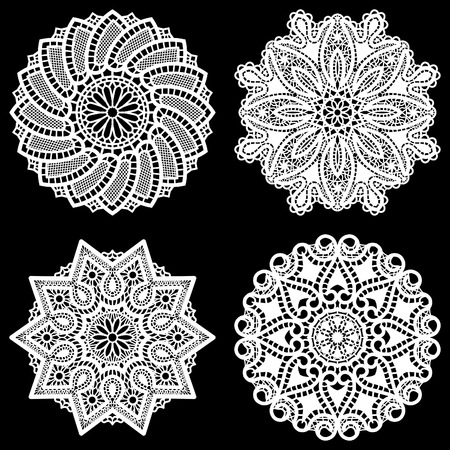 decorate element: Set of design elements, lace round paper doily, doily to decorate the cake,  festive doily,  doily - a template for cutting, lacy snowflake, greeting element package, vector illustrations