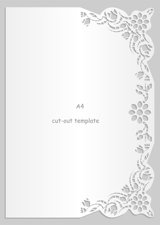 perforation: Paper lace greeting card, white pattern, lace decorations, cut-out template,  template congratulation, perforation pattern, A4, vector Illustration