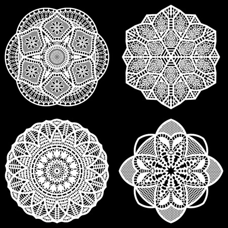 carving: Set of design elements, lace round paper doily, doily to decorate the cake,  festive doily,  doily - a template for cutting, lacy snowflake, greeting element package, vector illustrations