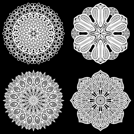 decorate element: Set of design elements, lace round paper doily, doily to decorate the cake,  festive doily,  doily - a template for cutting, lacy snowflake, greeting element package, lace pattern, vector illustrations