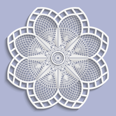 paper punch: Lace 3D mandala, decorative flower,   lace doily, decorative  snowflake,  lace pattern, arabic ornament, indian ornament, embossed pattern, vector