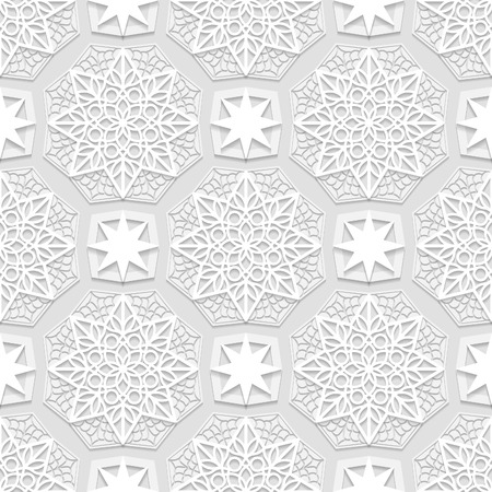 east indian: Seamless arabic geometric  pattern, east ornament, indian pattern, persian motif, white background, 3D, vector. Endless texture can be used for wallpaper, pattern fills, web page  background. Illustration