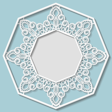 paper punch: 3D Vector bas-relief frame, vignette with ornaments, lace frame,   festive pattern, white pattern, template greetings Illustration