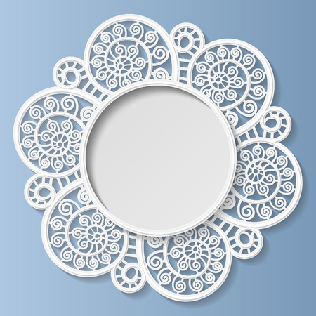 3D bas-relief frame, vignette with ornaments, lace frame,   festive pattern, white pattern, template greetings