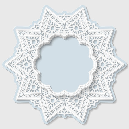 festive pattern: 3D star frame, vignette with ornaments, lace frame,  bas-relief ornament,  festive pattern, white pattern, template greetings, vector Illustration