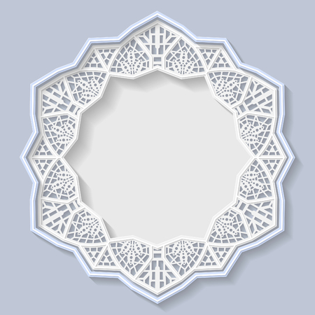 3d star: 3D star frame, vignette with ornaments, lace frame,  bas-relief ornament,  festive pattern, white pattern, template greetings, vector Illustration