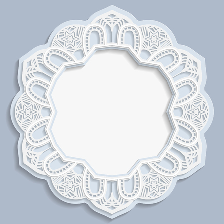 3D round frame, vignette with 3D flower frame, vignette with ornaments, lace frame, bas-relief frame, festive pattern, white pattern, template greetings, vector