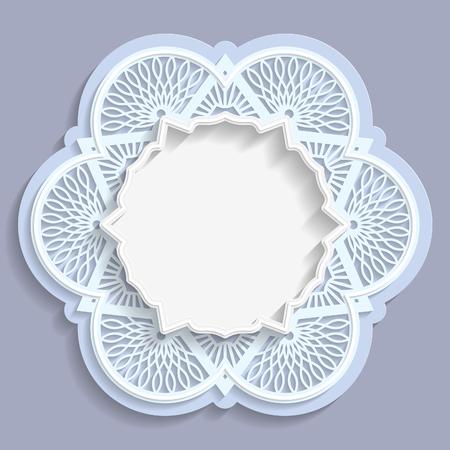 3d flower: 3D round frame, vignette with 3D flower frame, vignette with ornaments, lace frame, bas-relief frame,  festive pattern, white pattern, template greetings, vector