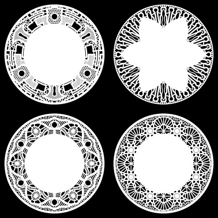 decorate element: Set of design elements, lace round paper doily, doily to decorate the cake,  festive doily,  doily - a template for cutting, greeting element package, vector